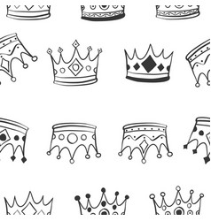 hand draw crown pattern style vector image