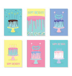 Set of birthday greeting cards with cakes vector