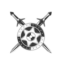 shield icon black and white vector image vector image