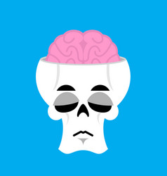skull and brain sad emoji skeleton head sorrowful vector image vector image