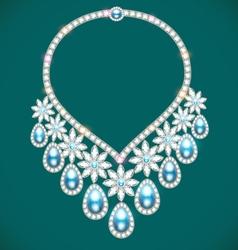 Womans necklace with precious stones vector