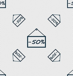 50 discount icon sign Seamless pattern with vector