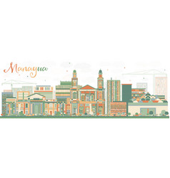 Abstract managua skyline with color buildings vector