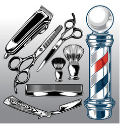 Barber shop accessories hair salon hair stylist vector