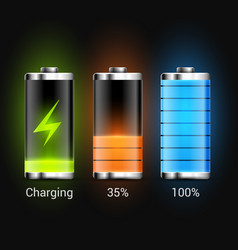 battery charge energy power icon battery vector image
