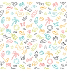 Beach theme background Cute hand drawn summer vector