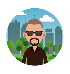 Beard man tree city background vector
