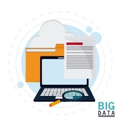Big data center base and web hosting icon set vector