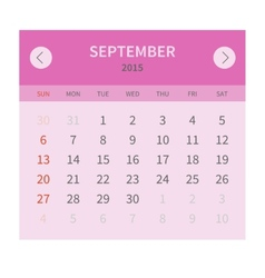 Calendar monthly september 2015 in flat design vector image