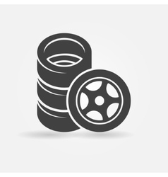 Car wheel and tires icon vector