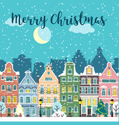 Christmas city street winter landscape vector