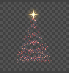 christmas tree for card transparent background vector image