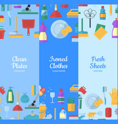 cleaning flat icons web banners vector image