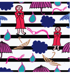 cloud rain earthworm and opened umbrella in the vector image