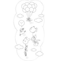 coloring animals flying with balloons vector image