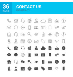Contact us line web glyph icons vector