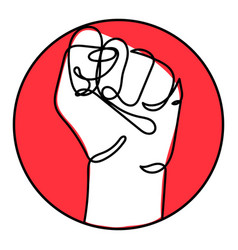 continuous line drawing strong fist raised up vector image