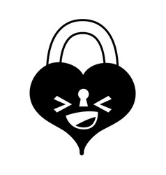 Contour happy heart padlock kawaii personage vector