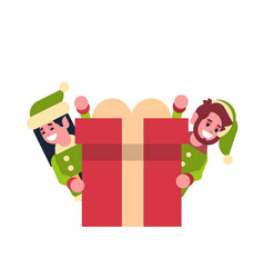 couple girl boy elf santa claus helper looking vector image
