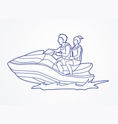 Couple riding jet ski man and woman enjoy riding vector