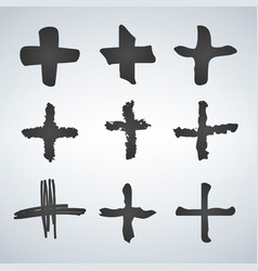 cross or plus symbols set of 9 hand painted plus vector image