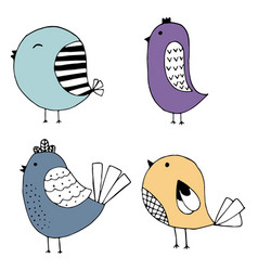 cute hand drawn collection of birds doodle design vector image