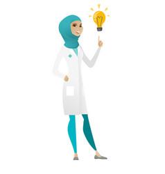 Doctor pointing at bright idea light bulb vector