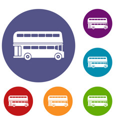 Double decker bus icons set vector