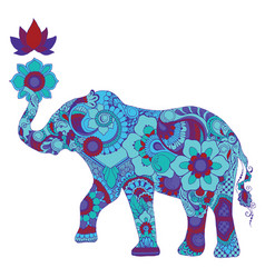 elephant with lotus vector image
