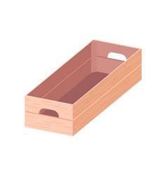 empty open wooden box with handles rectangular vector image
