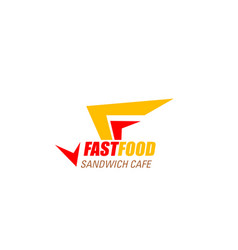 fast food cafe letter f icon vector image