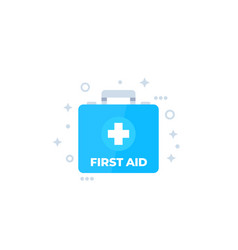 First aid kit medical box flat icon vector