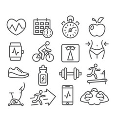 Fitness and gym line icons vector