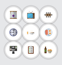 Flat icon oneday set of bureau watch television vector