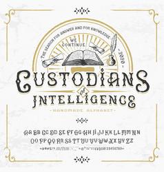 font custodians intelligence craft retro type vector image