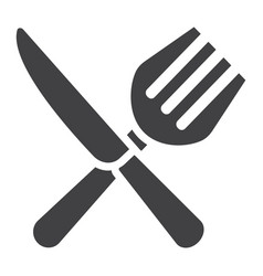 fork and knife solid icon dinner and restaurant vector image