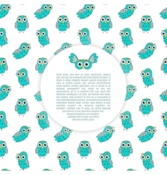 Frame owl turquoise seamless pattern vector