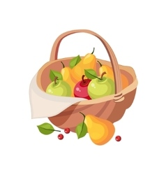 Fresh Garden Fruit Harvest In Wicker Picnic Basket vector image vector image