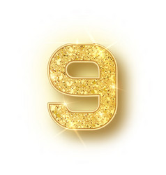 Gold glitter alphabet numbers 9 with shadow vector