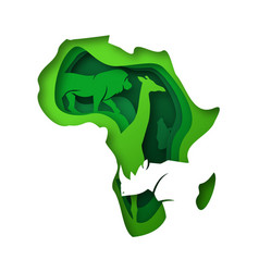 Green paper cut africa wild safari animal concept vector