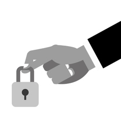 hand holding closed padlock icon vector image