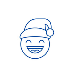 happy new year emoji line icon concept happy new vector image