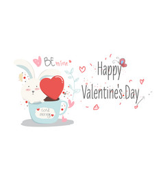 happy valentine daylovely cartoon rabbit with vector image