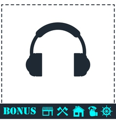Headphones icon flat vector image
