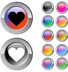 Heart multicolor button vector