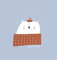 hello winter lettering cute cartoon bear in a vector image