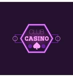 Hexahedron Casino Purple Neon Sign vector