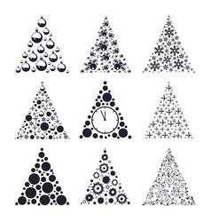 holiday fir tree silhouette set design for a merry vector image