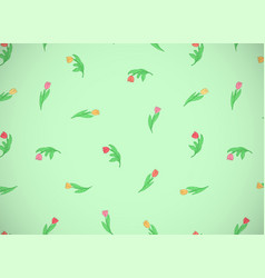 Horizontal card with cute cartoon colored flowers vector