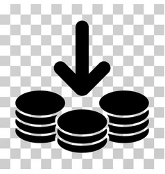 Income coins icon vector